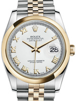 ROLEX DATEJUST LADY OYSTER PERPETUAL WHITE REF. 116203 36MM, steel and yellow gold, Cal. 3135